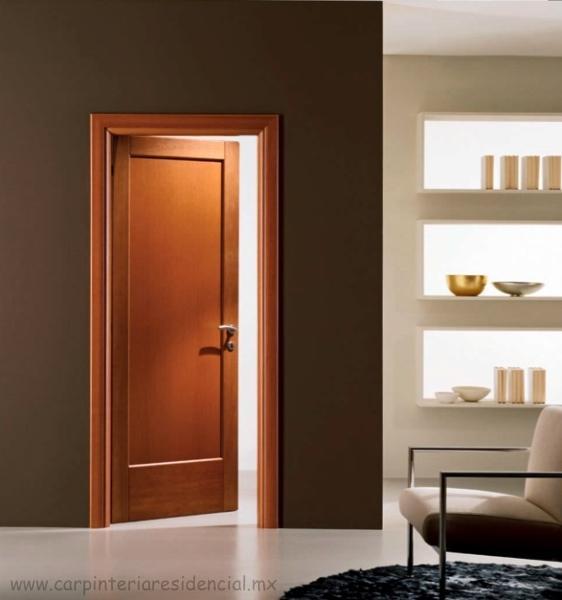 Puertas interiores de madera carpinteria residencial slp - Carteles para puertas habitaciones ...