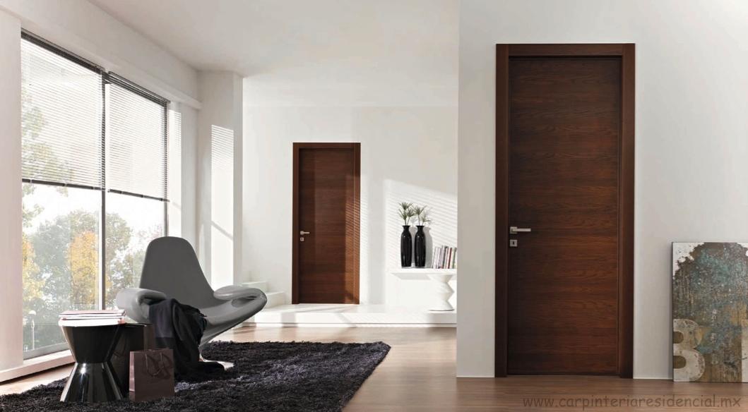 Puertas interiores de madera carpinteria residencial slp for Recamaras blancas modernas