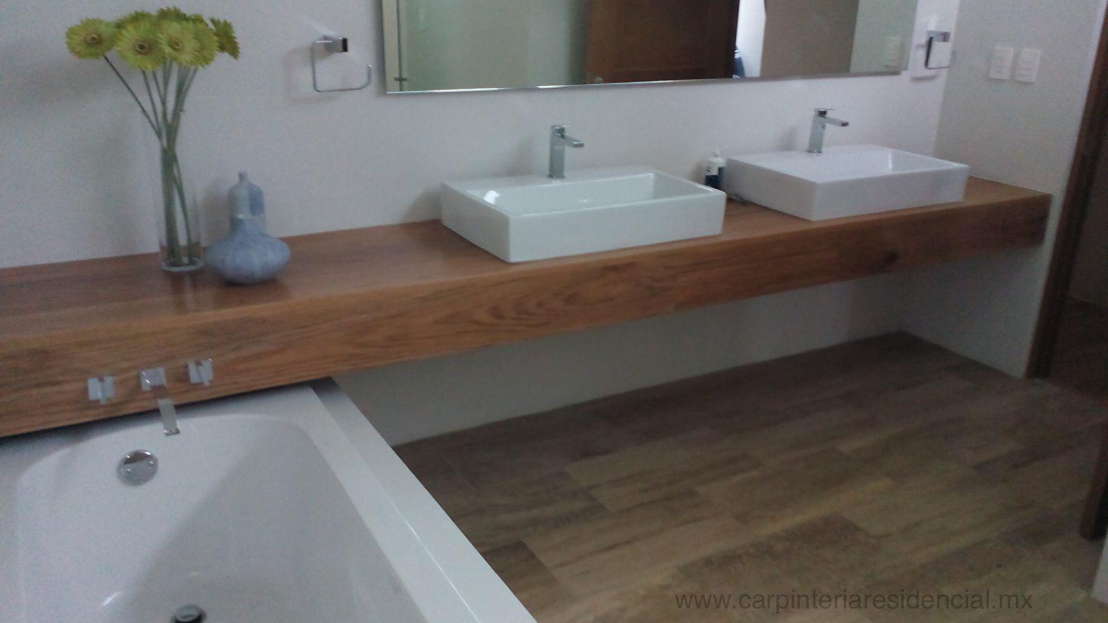Trabajos recientes carpinteria residencial slp - Mueble lavabo madera ...