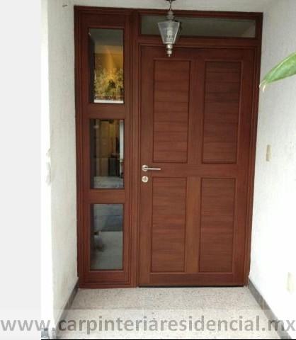 Puerta exterior de madera con fijo slp