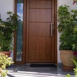 puerta exterior de madera con fijo de vidrio slp