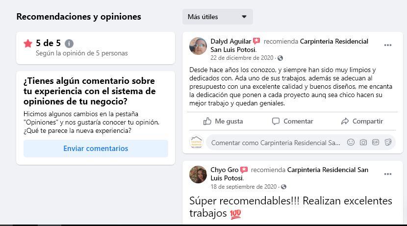 opinión de clientes en facebook