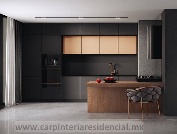 cocina integral moderna negra mate y madera carpinteria residencial