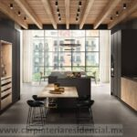 cocina minimalista moderna con isla negro mate y madera san luis potosi