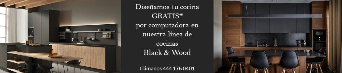 slider cocina minimalista negra y madera promocion