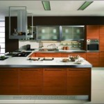 cocina-integral-madera-barra-escuadra-acero-inoxidable-contemporanea-slp